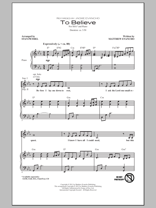 Stan Pethel To Believe sheet music notes and chords. Download Printable PDF.