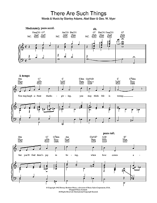 Stanley Adams There Are Such Things sheet music notes and chords. Download Printable PDF.