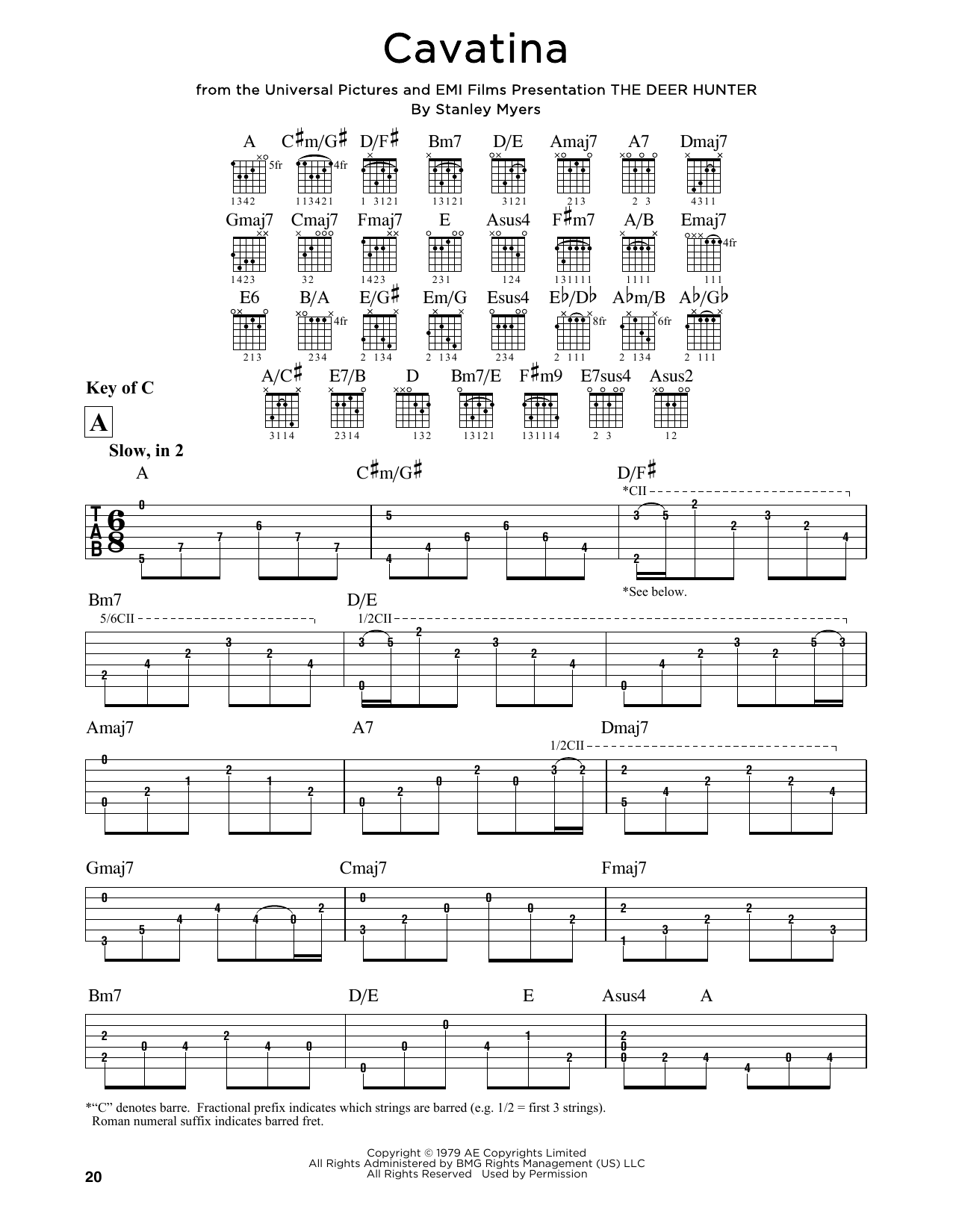 Stanley Myers Cavatina sheet music notes and chords. Download Printable PDF.