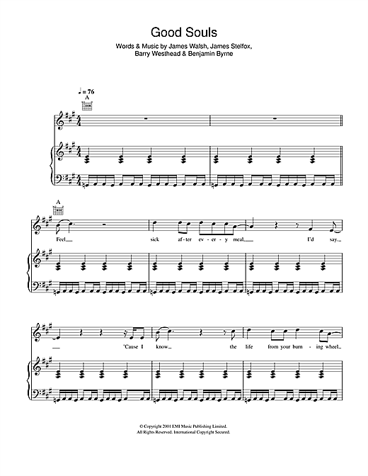 Starsailor Good Souls sheet music notes and chords. Download Printable PDF.