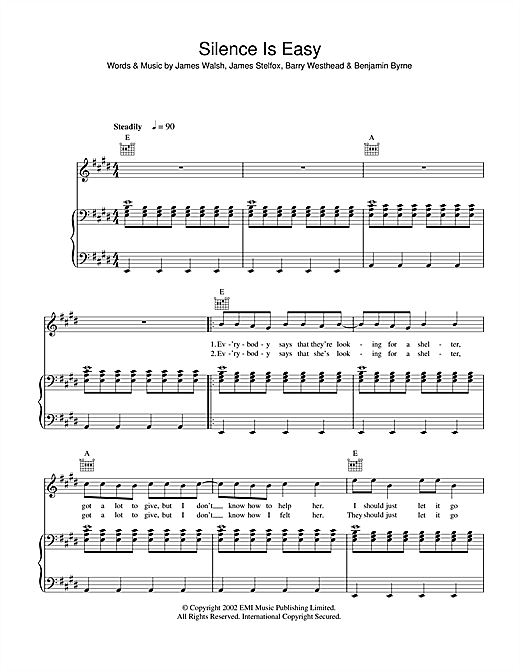 Starsailor Silence Is Easy sheet music notes and chords