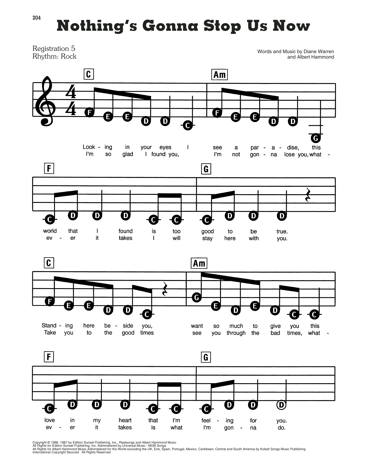 Starship Nothing's Gonna Stop Us Now sheet music notes and chords. Download Printable PDF.