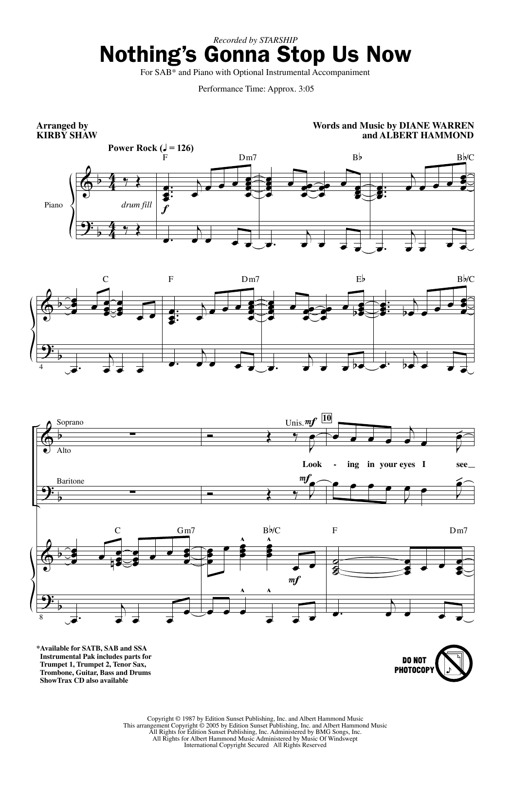 Starship Nothing's Gonna Stop Us Now arr. Kirby Shaw Sheet Music Notes,  Chords   Download Printable SATB Choir PDF Score   SKU 15