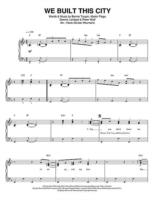 Starship We Built This City sheet music notes and chords. Download Printable PDF.