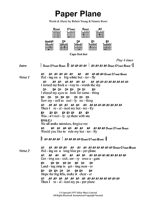 Status Quo Paper Plane sheet music notes and chords. Download Printable PDF.