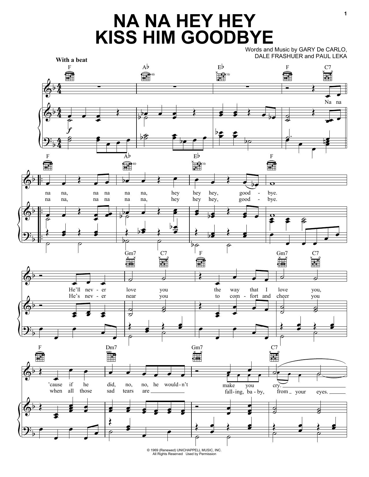 Steam Na Na Hey Hey Kiss Him Goodbye sheet music notes and chords. Download Printable PDF.