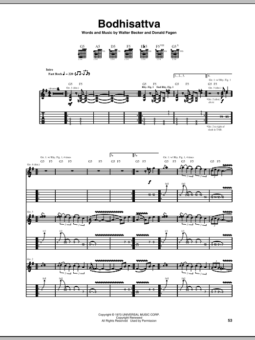 Steely Dan Bodhisattva sheet music notes and chords. Download Printable PDF.