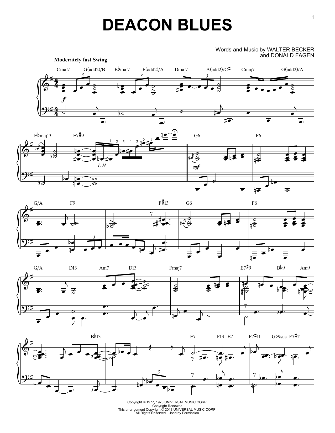 Steely Dan Deacon Blues [Jazz version] sheet music notes and chords. Download Printable PDF.