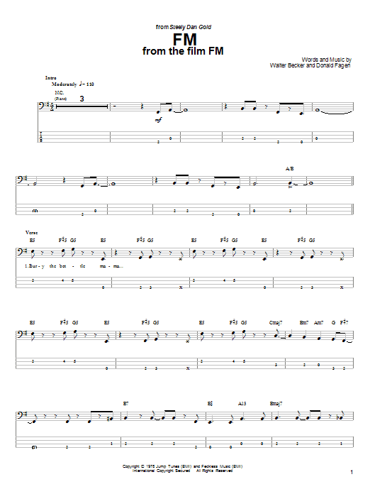 Steely Dan FM sheet music notes and chords. Download Printable PDF.