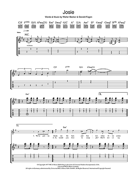 Steely Dan Josie sheet music notes and chords. Download Printable PDF.