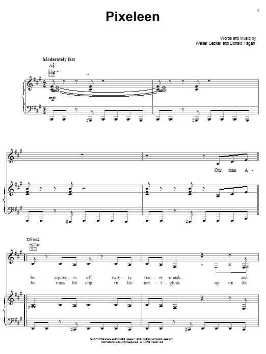 Steely Dan Pixeleen sheet music notes and chords. Download Printable PDF.