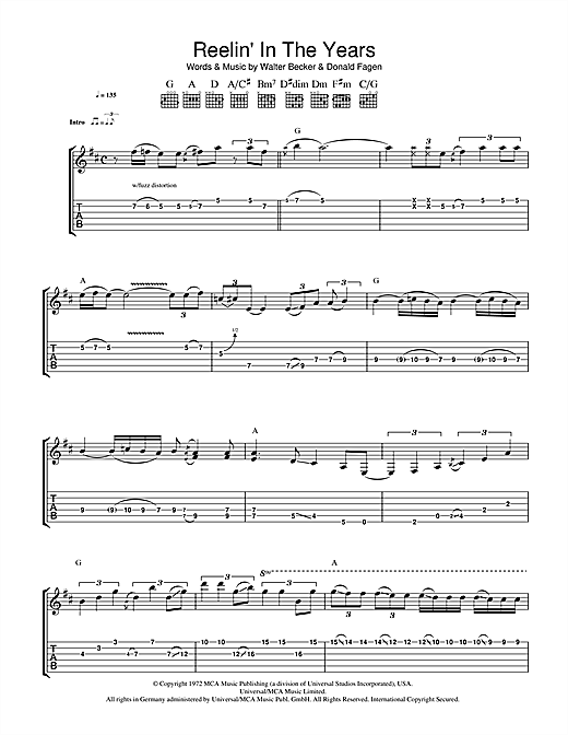 Steely Dan Reelin' In The Years sheet music notes and chords. Download Printable PDF.