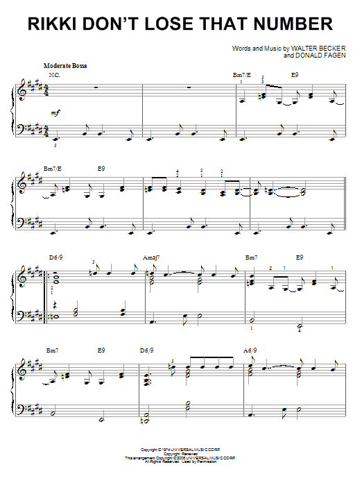 Steely Dan Rikki Don't Lose That Number [Jazz version] (arr. Brent Edstrom) sheet music notes and chords. Download Printable PDF.