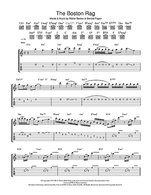 Steely Dan The Boston Rag sheet music notes and chords. Download Printable PDF.