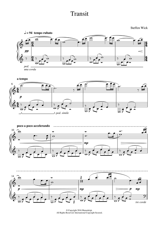 Steffen Wick Transit sheet music notes and chords. Download Printable PDF.