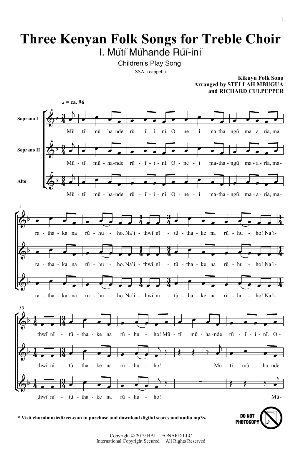 Stellah Mbugua and Richard Culpepper Three Kenyan Folksongs for Treble Choir sheet music notes and chords. Download Printable PDF.