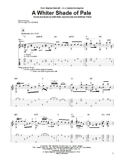 Stephen Bennett A Whiter Shade Of Pale sheet music notes and chords. Download Printable PDF.