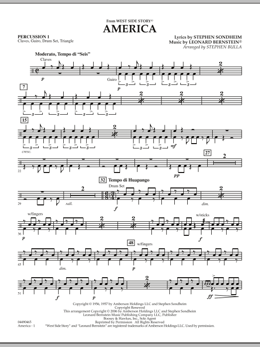 Stephen Bulla America (from West Side Story) - Percussion 1 sheet music notes and chords. Download Printable PDF.