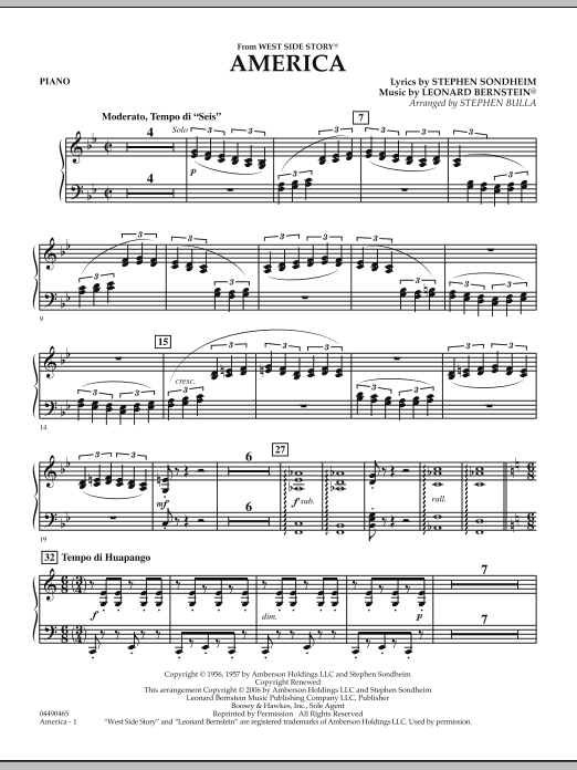 Stephen Bulla America (from West Side Story) - Piano sheet music notes and chords. Download Printable PDF.