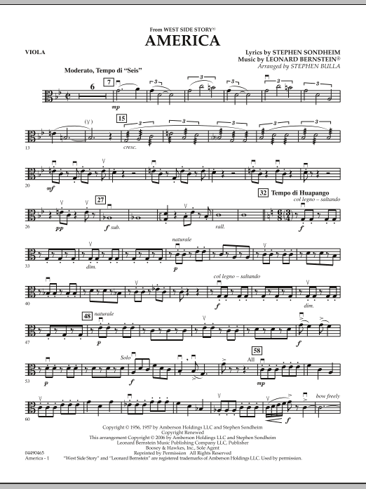 Stephen Bulla America (from West Side Story) - Viola sheet music notes and chords. Download Printable PDF.