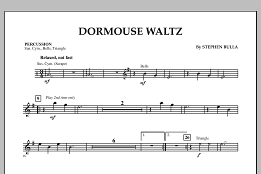 Stephen Bulla Dormouse Waltz - Percussion sheet music notes and chords