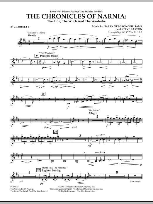 Stephen Bulla Music from The Chronicles Of Narnia: The Lion, The Witch And The Wardrobe - Bb Clarinet 1 sheet music notes and chords. Download Printable PDF.