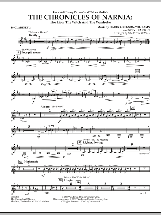 Stephen Bulla Music from The Chronicles Of Narnia: The Lion, The Witch And The Wardrobe - Bb Clarinet 2 sheet music notes and chords. Download Printable PDF.
