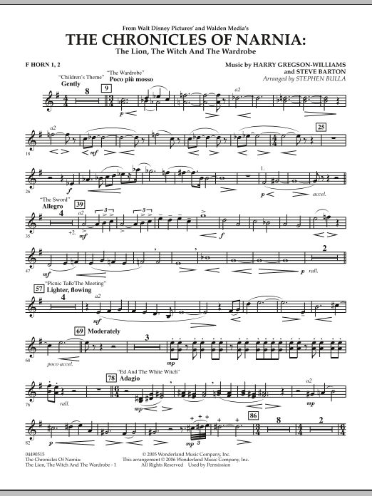 Stephen Bulla Music from The Chronicles Of Narnia: The Lion, The Witch And The Wardrobe - F Horn 1 & 2 sheet music notes and chords. Download Printable PDF.