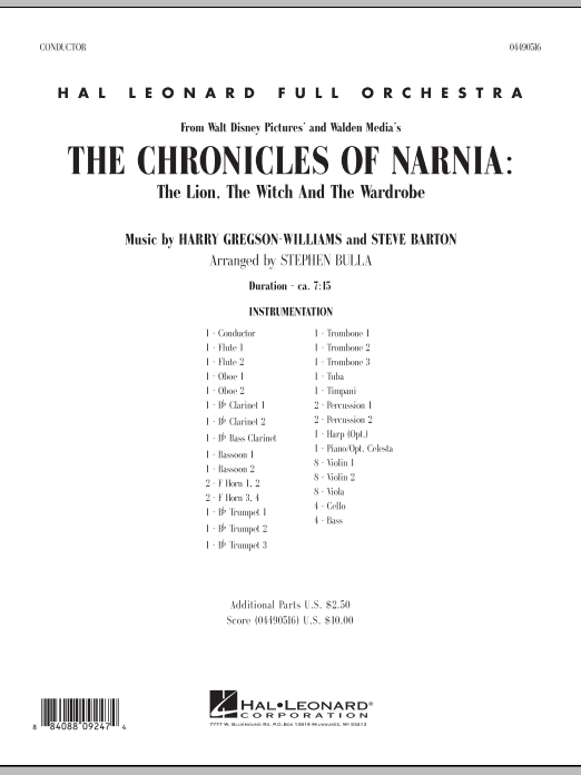 Stephen Bulla Music from The Chronicles Of Narnia: The Lion, The Witch And The Wardrobe - Full Score sheet music notes and chords. Download Printable PDF.