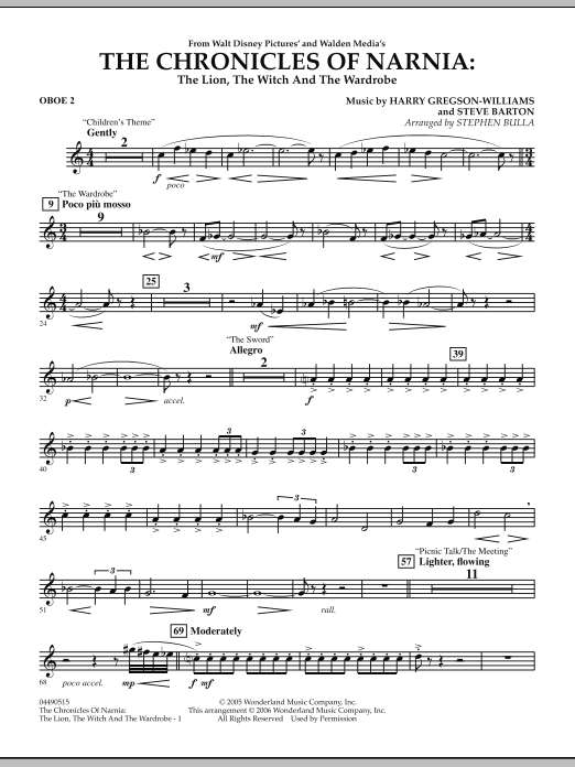 Stephen Bulla Music from The Chronicles Of Narnia: The Lion, The Witch And The Wardrobe - Oboe 2 sheet music notes and chords. Download Printable PDF.