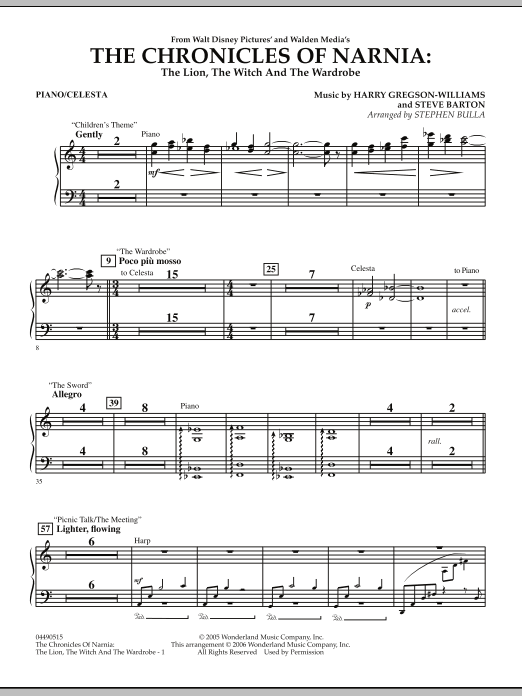 Stephen Bulla Music from The Chronicles Of Narnia: The Lion, The Witch And The Wardrobe - Piano sheet music notes and chords. Download Printable PDF.