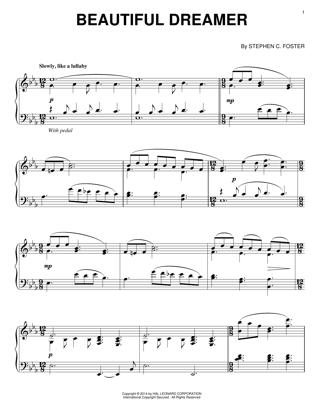 Stephen C. Foster Beautiful Dreamer sheet music notes and chords. Download Printable PDF.