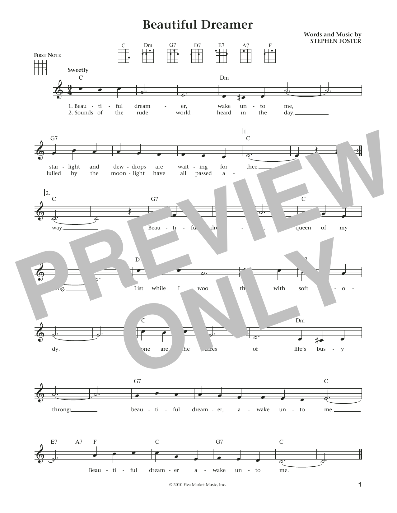 Stephen C. Foster Beautiful Dreamer (from The Daily Ukulele) (arr. Liz and Jim Beloff) sheet music notes and chords