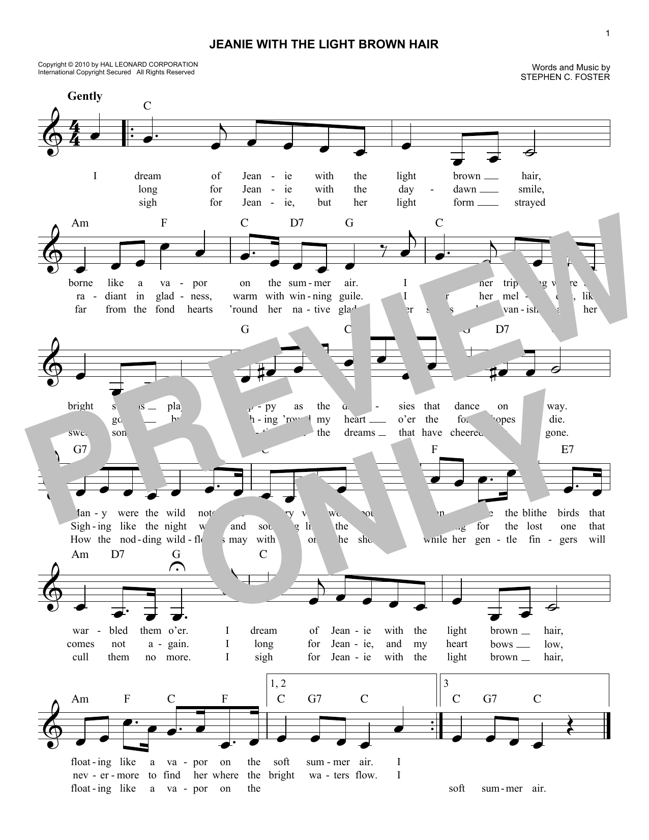 Stephen C. Foster Jeanie With The Light Brown Hair sheet music notes and chords. Download Printable PDF.
