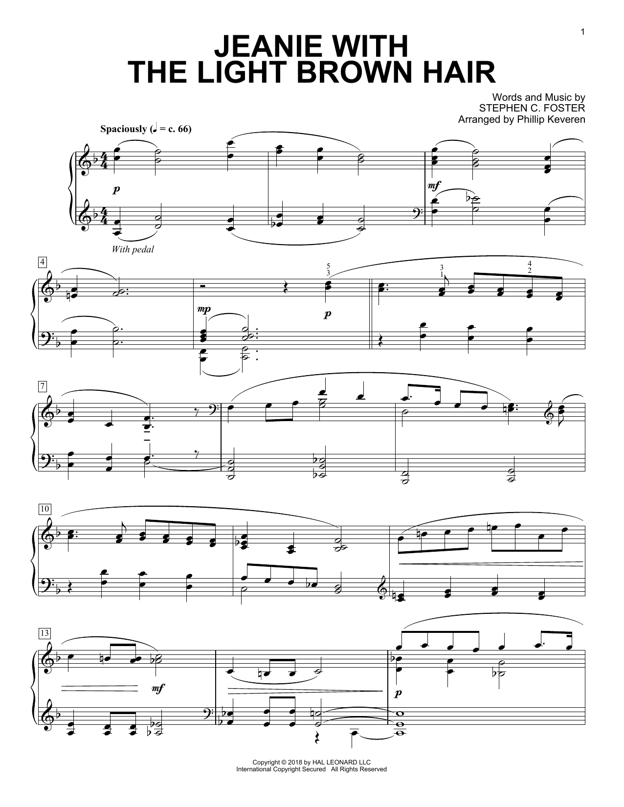 Stephen C. Foster Jeanie With The Light Brown Hair [Classical version] (arr. Phillip Keveren) sheet music notes and chords. Download Printable PDF.