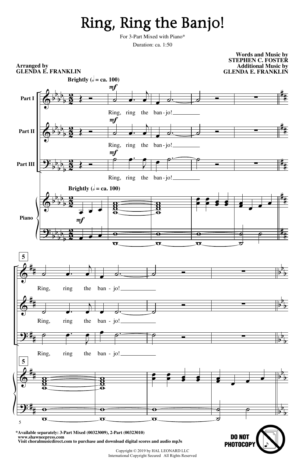Stephen C. Foster Ring, Ring The Banjo! (arr. Glenda E. Franklin) sheet music notes and chords. Download Printable PDF.