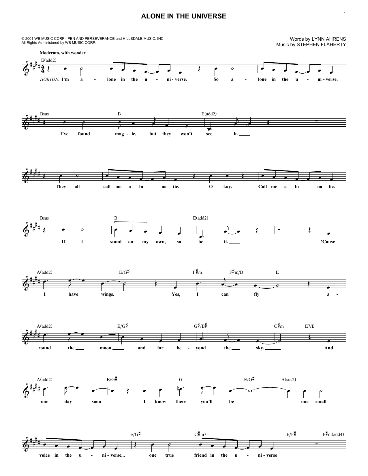 Stephen Flaherty Alone In The Universe sheet music notes and chords. Download Printable PDF.