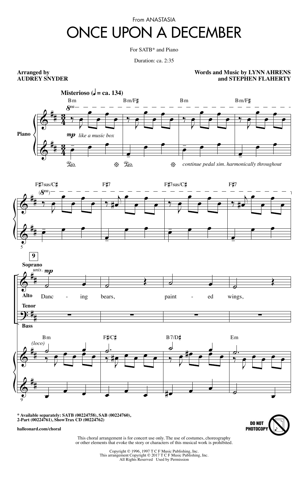 Audrey Snyder Once Upon A December sheet music notes and chords. Download Printable PDF.