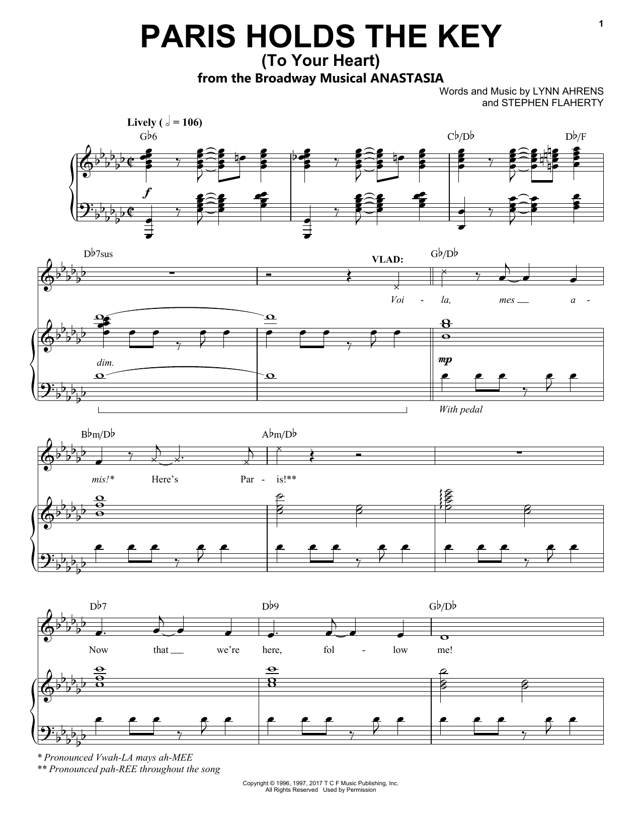 Stephen Flaherty Paris Holds The Key (To Your Heart) (from Anastasia) sheet music notes and chords. Download Printable PDF.