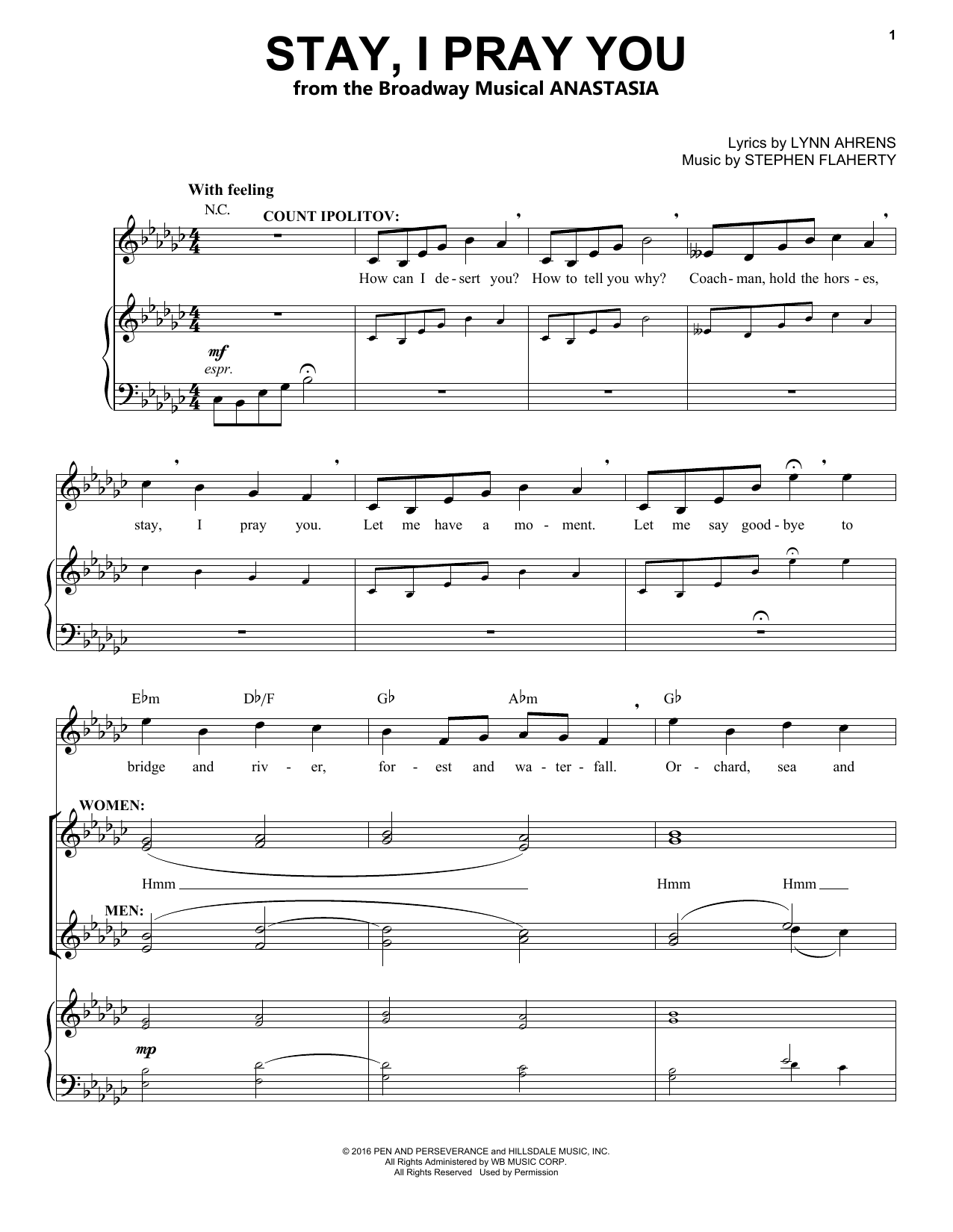 Stephen Flaherty Stay, I Pray You (from Anastasia) sheet music notes and chords. Download Printable PDF.