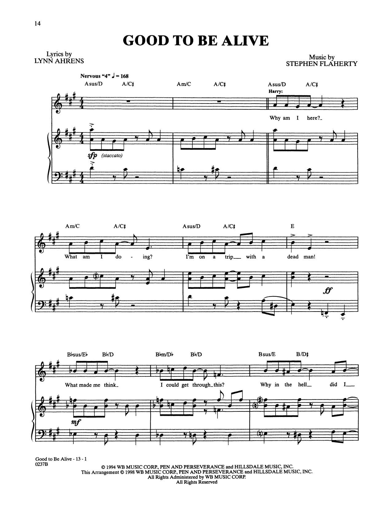 Stephen Flaherty and Lynn Ahrens Good To Be Alive (from Lucky Stiff) sheet music notes and chords. Download Printable PDF.