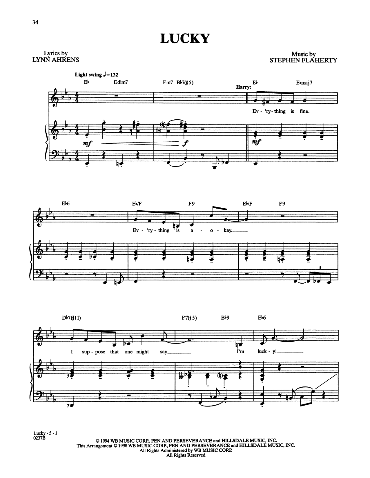 Stephen Flaherty and Lynn Ahrens Lucky (from Lucky Stiff) sheet music notes and chords. Download Printable PDF.