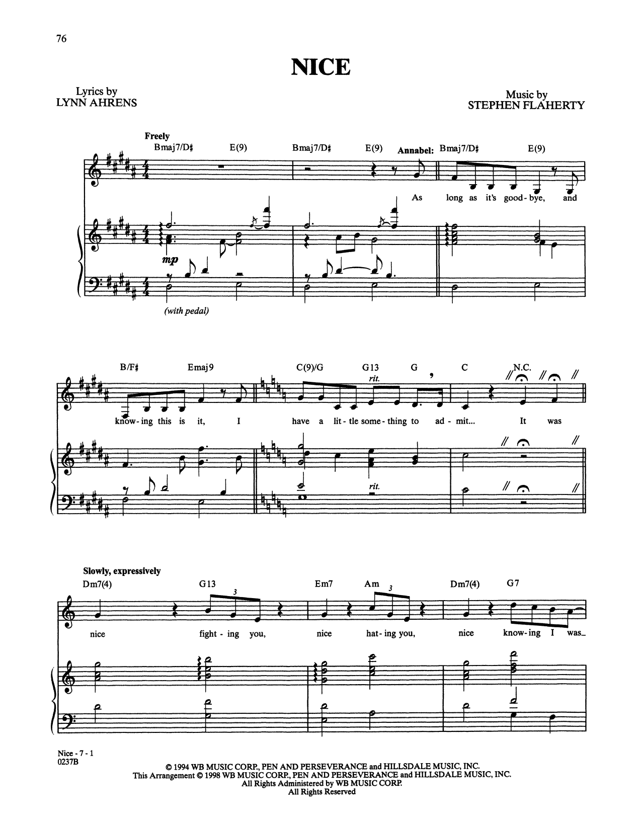 Stephen Flaherty and Lynn Ahrens Nice (from Lucky Stiff) sheet music notes and chords. Download Printable PDF.