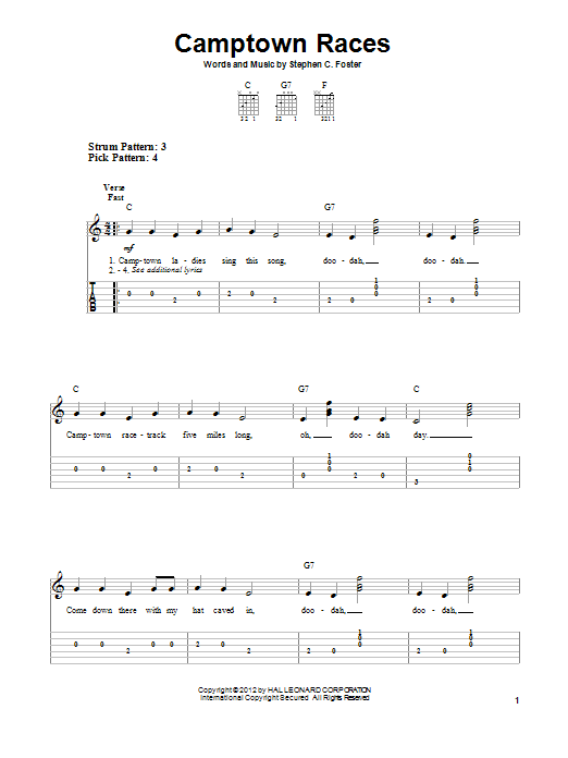 Stephen Foster Camptown Races sheet music notes and chords. Download Printable PDF.