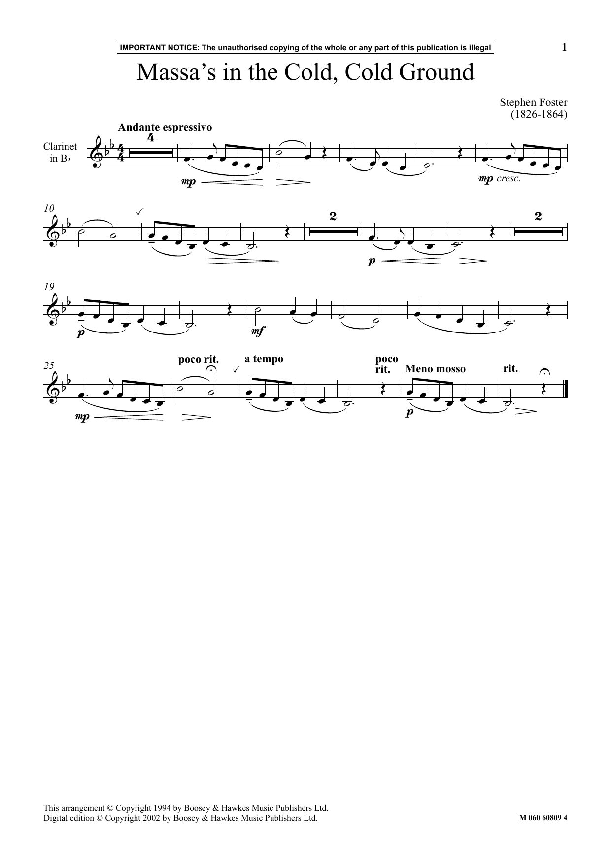 Stephen Foster Massa's In The Cold, Cold Ground sheet music notes and chords. Download Printable PDF.