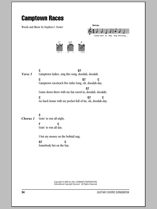 Traditional The Camptown Races sheet music notes and chords. Download Printable PDF.