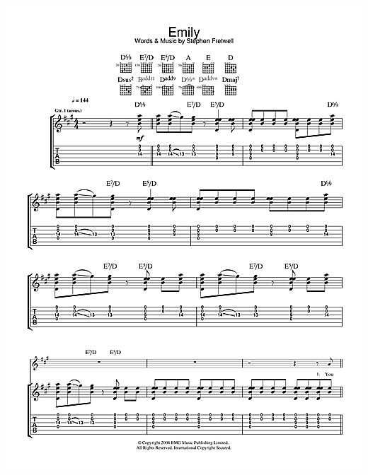 Stephen Fretwell Emily sheet music notes and chords. Download Printable PDF.
