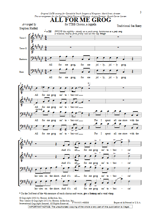 Traditional Folksong All For Me Grog (arr. Stephen Hatfield) sheet music notes and chords. Download Printable PDF.