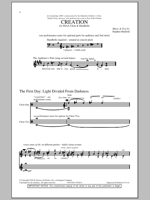 Stephen Hatfield Creation sheet music notes and chords. Download Printable PDF.