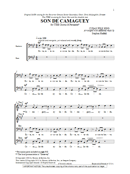 Stephen Hatfield Son De Camaguey sheet music notes and chords. Download Printable PDF.